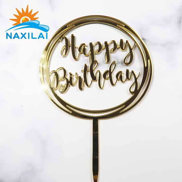 Naxilai Acrylic Happy Birthday Cake Topper