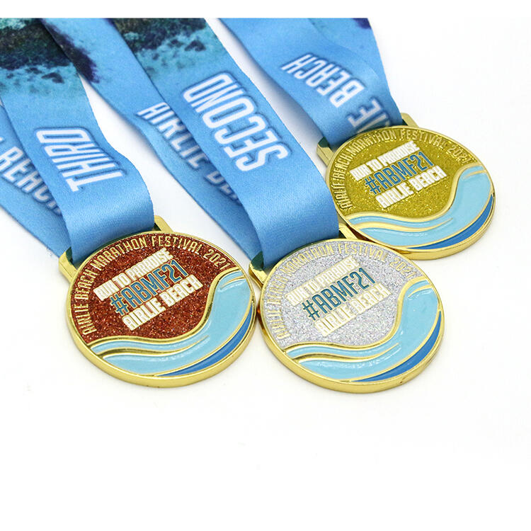 Round shaped glitter medals for sale