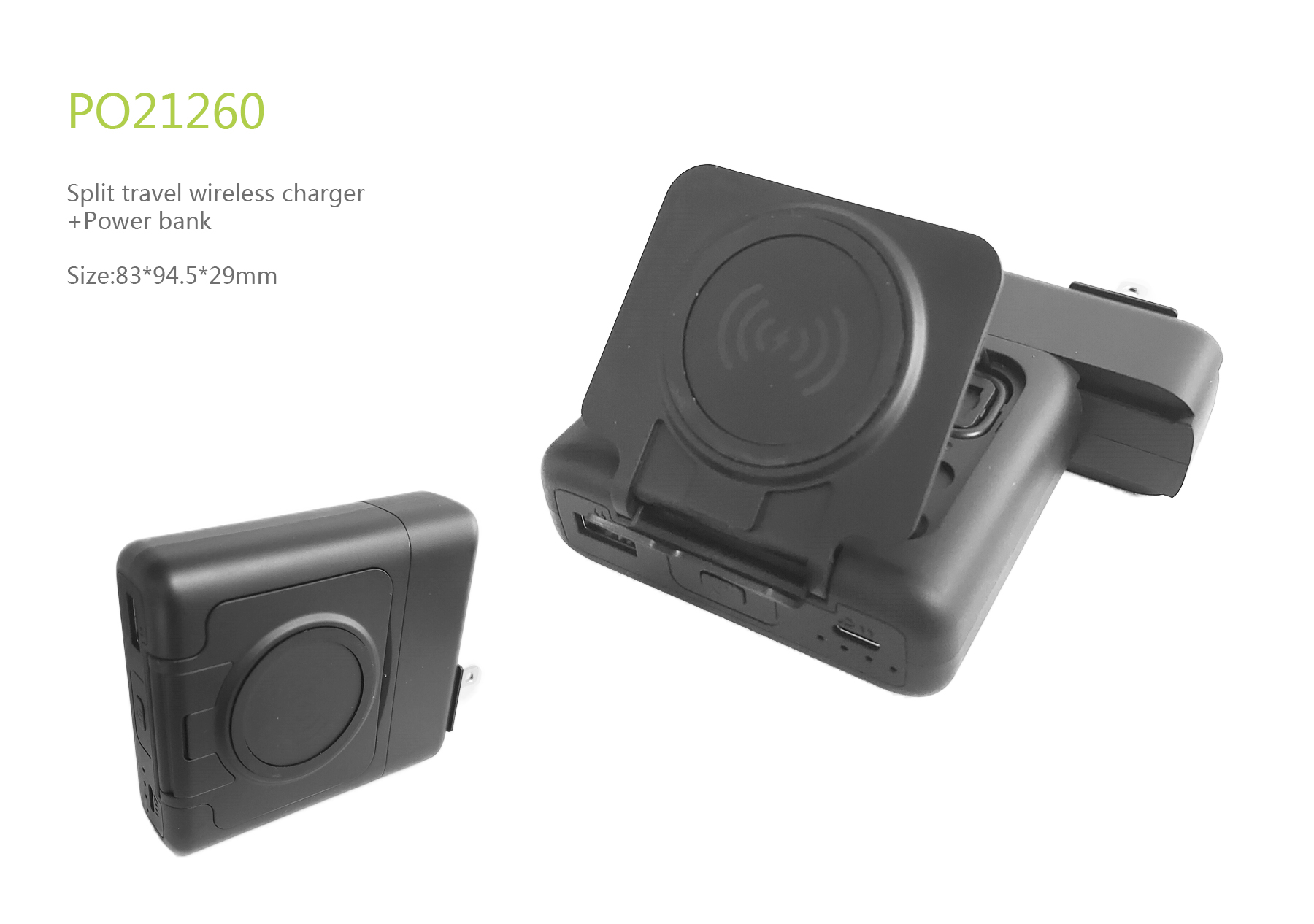 Split travel wireless charger and power bank
