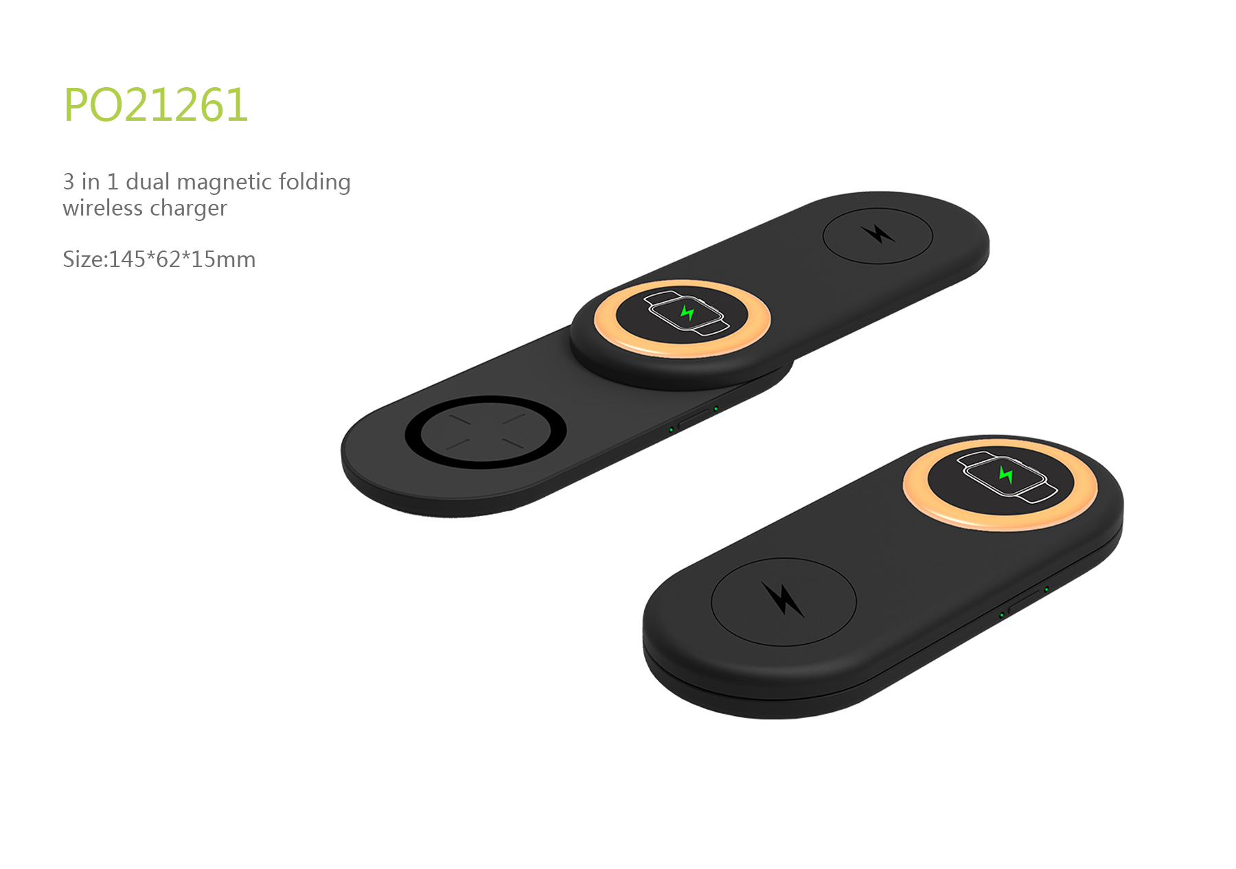 3 in 1 dual magnetic folding wireless charger