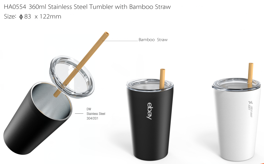 Stainless bottle with bamboo straw