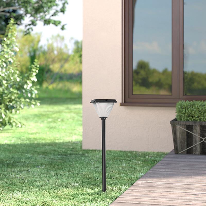 Goldsuno 3CCT Solar Lawn Post Light, 3000K 4000K 5000K Selectable 5W Outdoor Solar Post Light for Lawn Garden Pathway