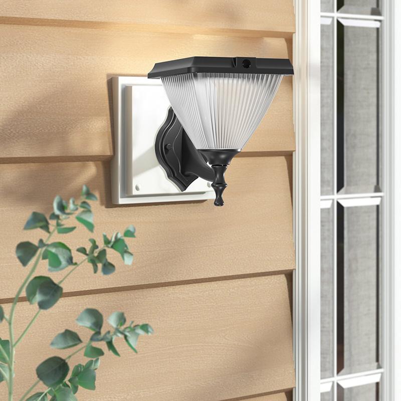 Goldsuno 3CCT Solar Wall Light, Dusk to Dawn Wall Mounted Security Solar Light for Outdoor, 3000K 4000K 5000K Selectable