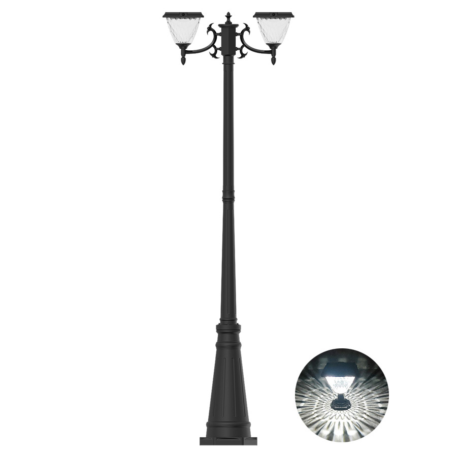 Solar Post Light With Two Head, Diamond Shape PC Shade Solar Post Light for Pathway Garden Park Square