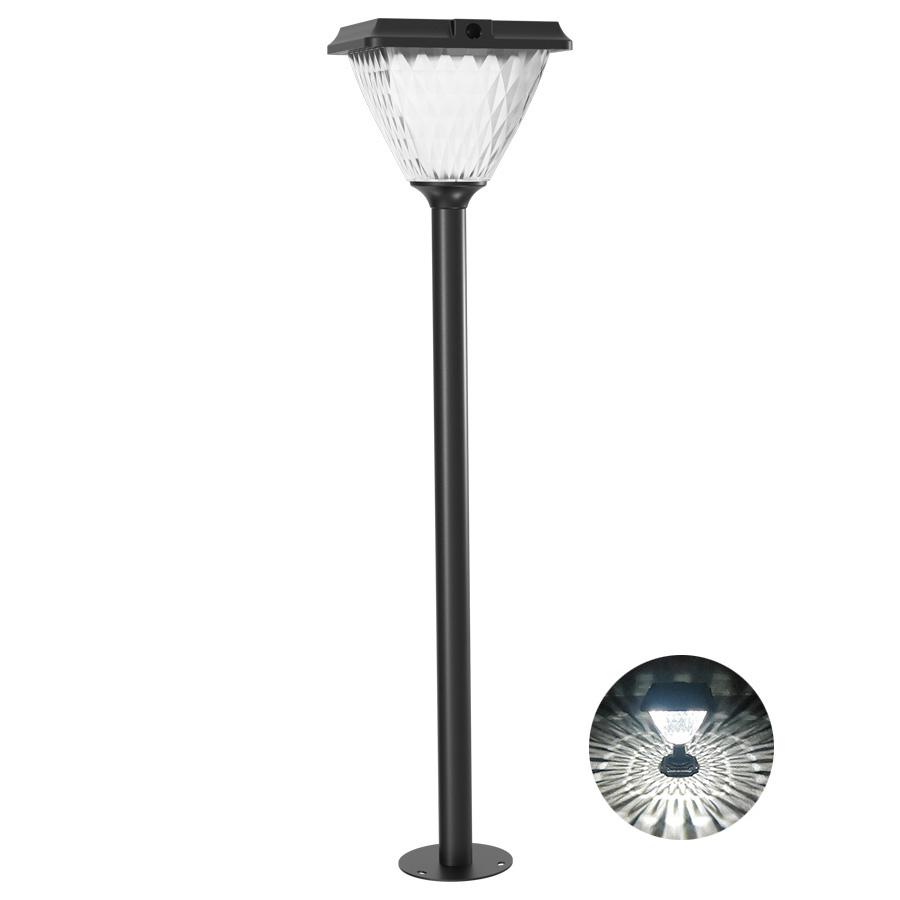 Diamond Solar Post Light,LED Cast Aluminum Solar Lamp Post Light with Diamond Shape PC Lensfor Outdoor Landscape Pathway Street Patio Garden Yard Driveway