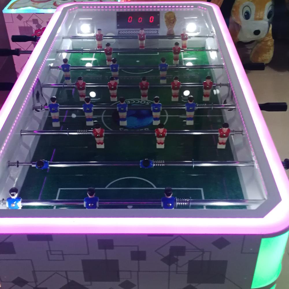 2021 newest automatic football table coin pusher machine for kids arcade games
