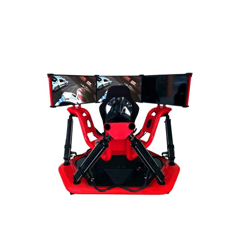 2020年热销虚拟现实技术3屏6个自由度赛车驾驶模拟娱乐设备