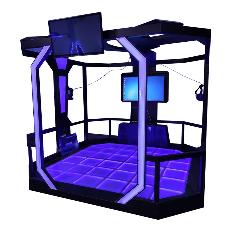 2021 hot selling interactive htc vr walking shooting game simulator with 2 players walking platform room space