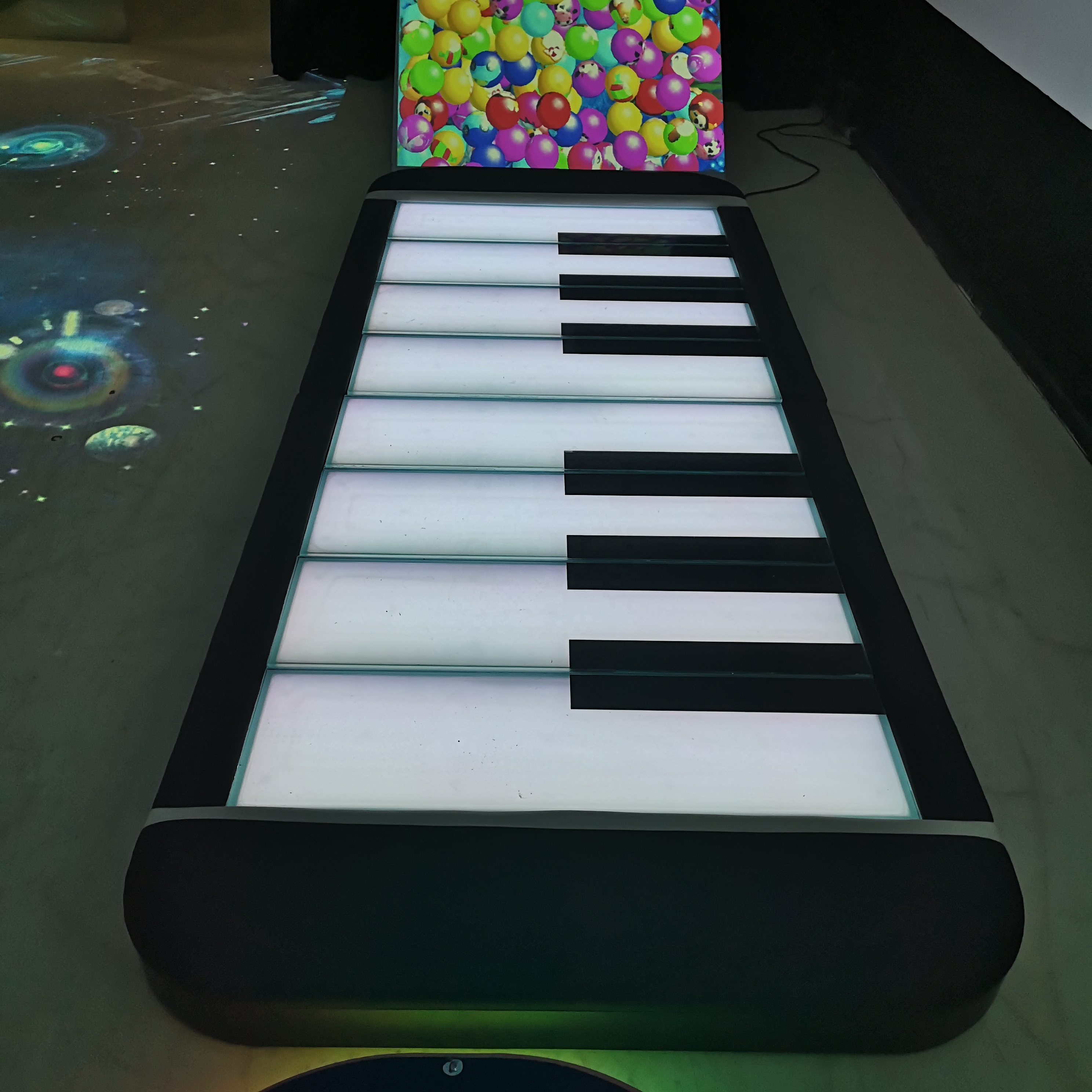 low price 3D games new advertising tempered glass led interactive projector dance led floor piano system