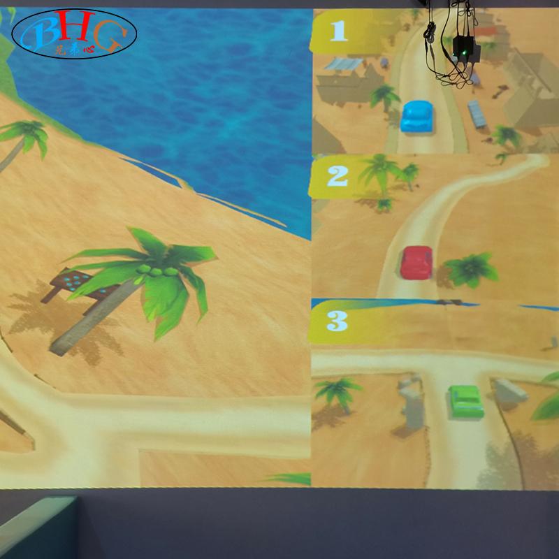 梦幻的AR透明互动触摸屏绘画和绘图墙儿童室内游乐场或购物中心