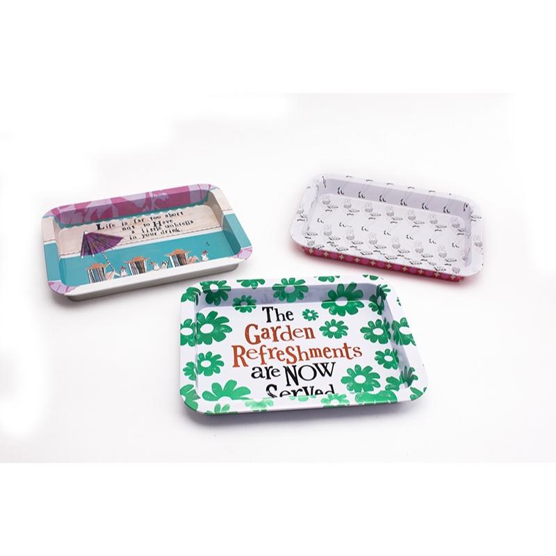 Custom food storage tin tray rectangular shape