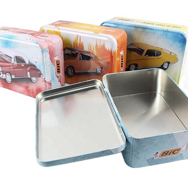 car cartoon rectangular tin box with hinge customer pattern tin canister
