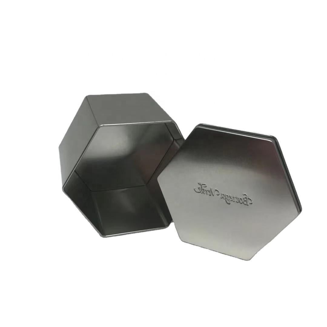 Factory Supply Hexagonal Tin Box Airtight Tea Tins Empty Medicine Hexagon tin box