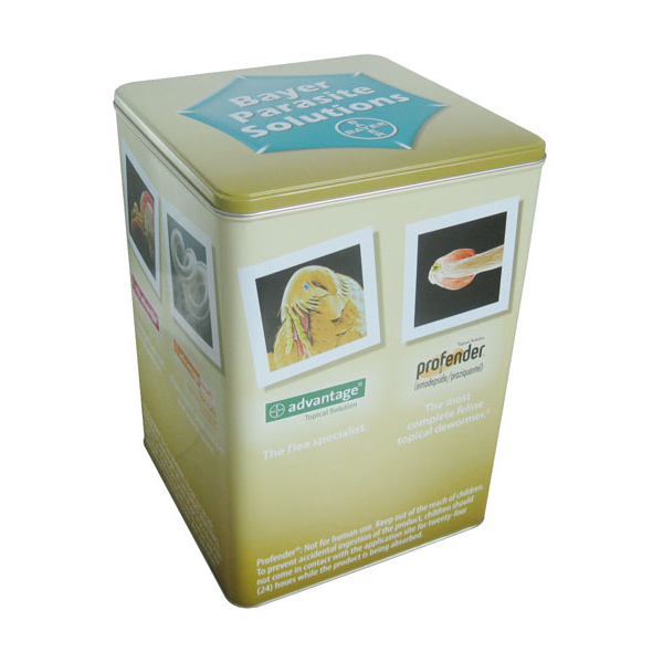 Custom printed tin box with removable lid food metal packing