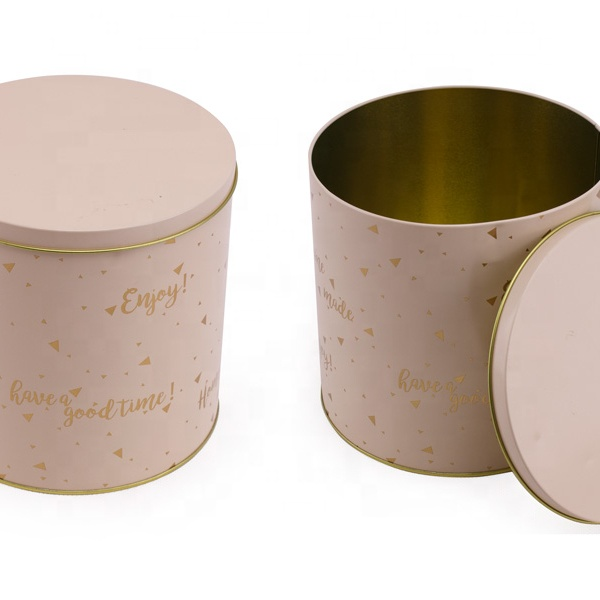 cylinder cookie biscuit tin can big volume custom size snack packing metal boxes