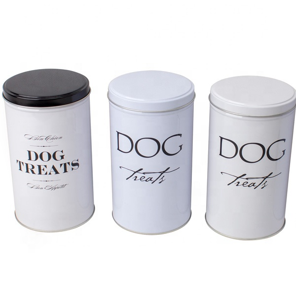 big volume cat or dog treat food cans round pet food storage tin can OEM customized size