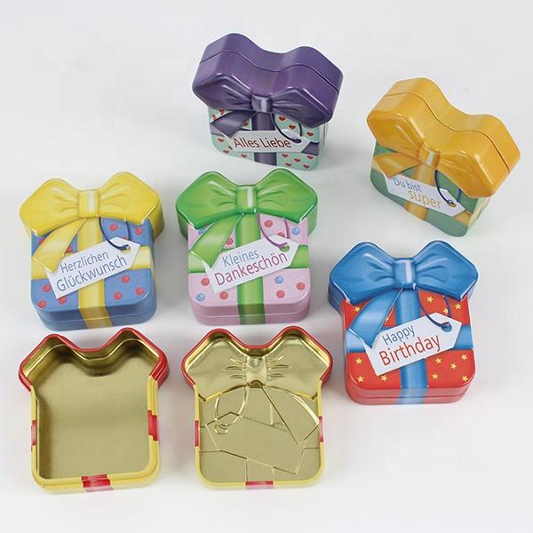 Bow Shape Tin Boxes Rose Gold Custom Print Metal Box Creative Tin Can Colorful shape tin