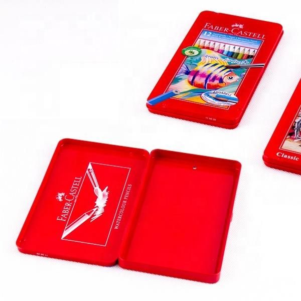 Custom Printing 24 Pieces tin can package Color Pencil Case Metal Box Rectangular Tin Box