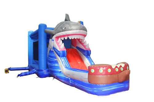 Shark inflatable combo jumping castle with slide