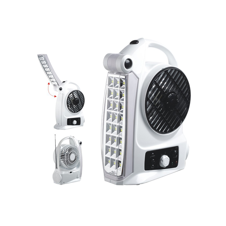 Hot sales solar rechargeable radio fan with led light