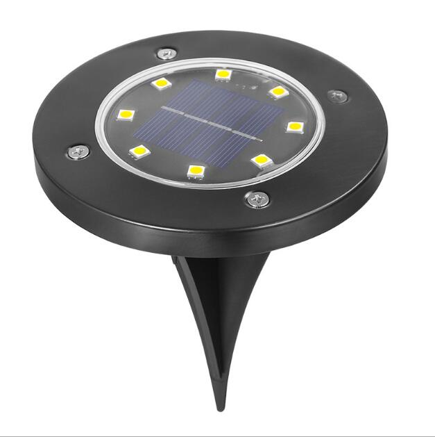 Decorative street light solar waterproof IP65 stainless steel garden 8 LED outdoor lights