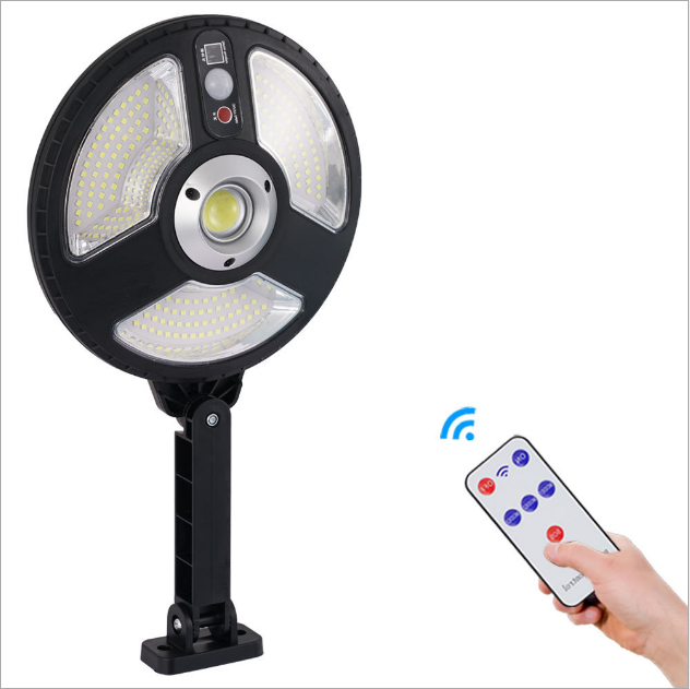 COB outdoor round remote control outdoor bright LED street light road path solar flood lights