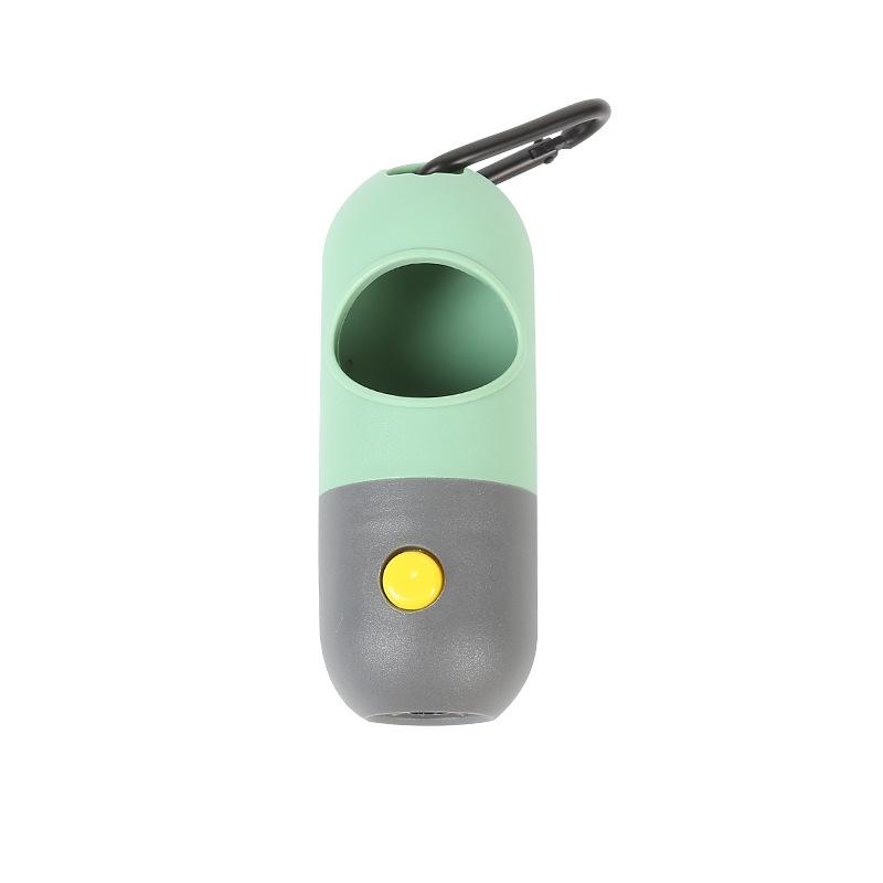Dog poop bag dispenser flashlight with carabiner clip waste bags holder for dog leash