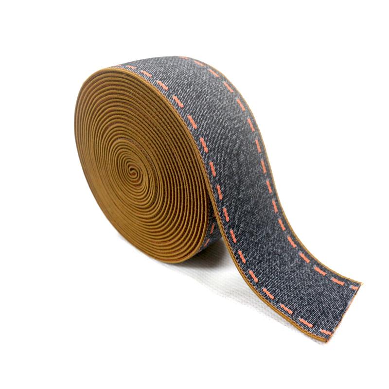 Custom Denim Effect Printed Polyester Elastic Webbing for Garment Accessories