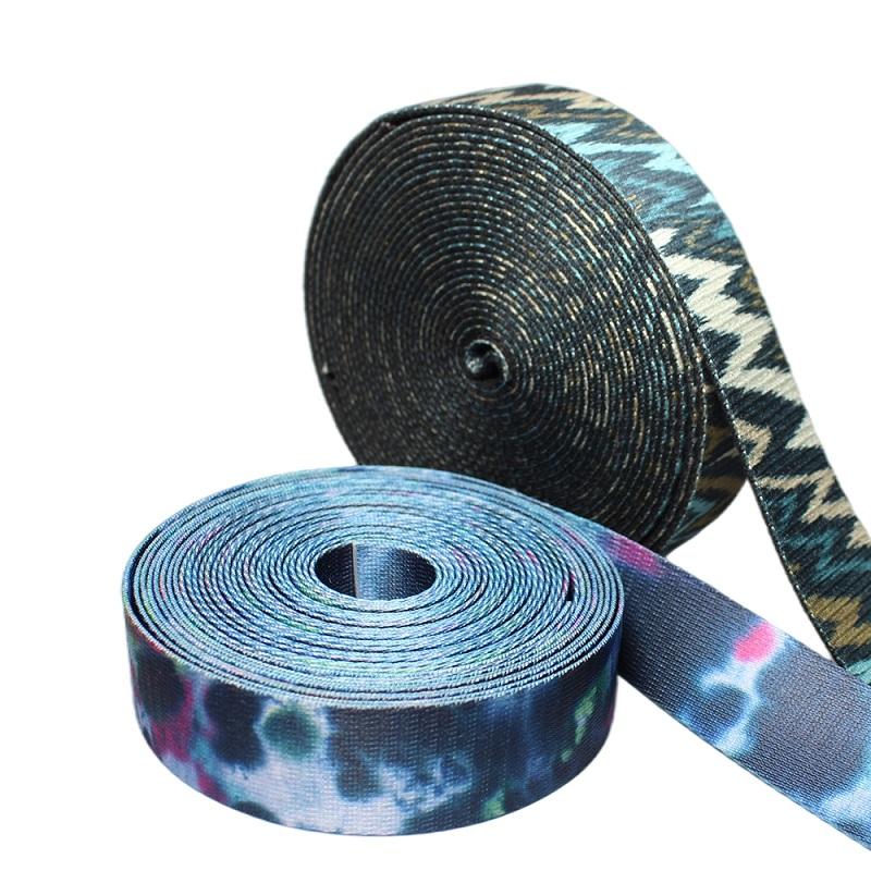 Custom Heat Transfer Printing Polyester Elastic Webbing for bag strap belt