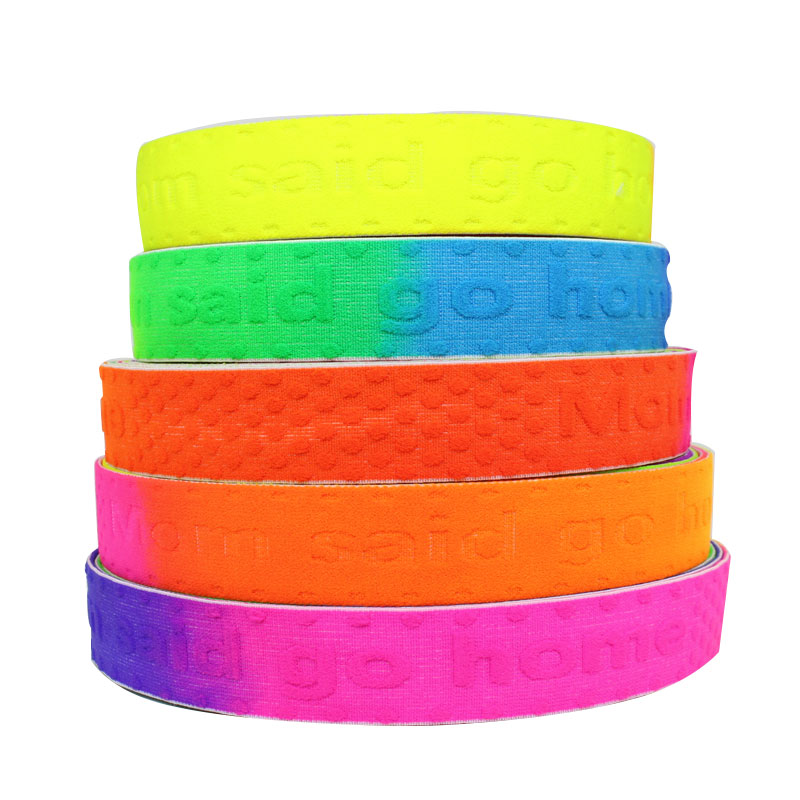 Colorful printed jacquard elastic webbing band with custom logo for garment accessories elastic waistband tape