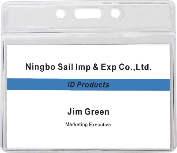 Landscape Vinyl Oriented Pre-punched Green Ahead Soft Badge Holder