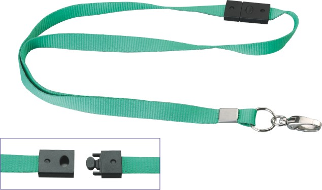 Synthetic Fabric Portable Flat Lanyard With Detachable Buckle