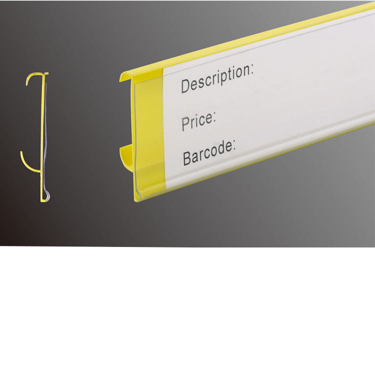 Faint Yellow Supermarket Quotation Tag Shelf Attached Data Strips
