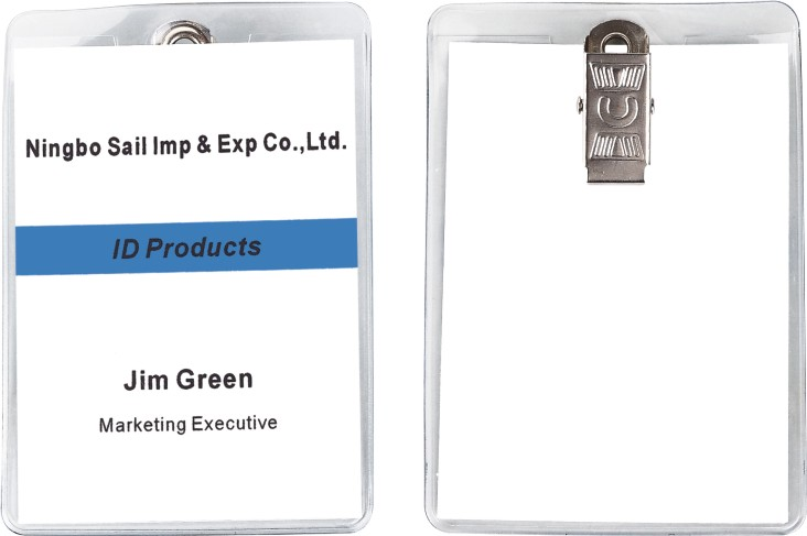 Vertical Format Portrait Orientation Pre-punched Anti-dirty Soft Badge Wallet