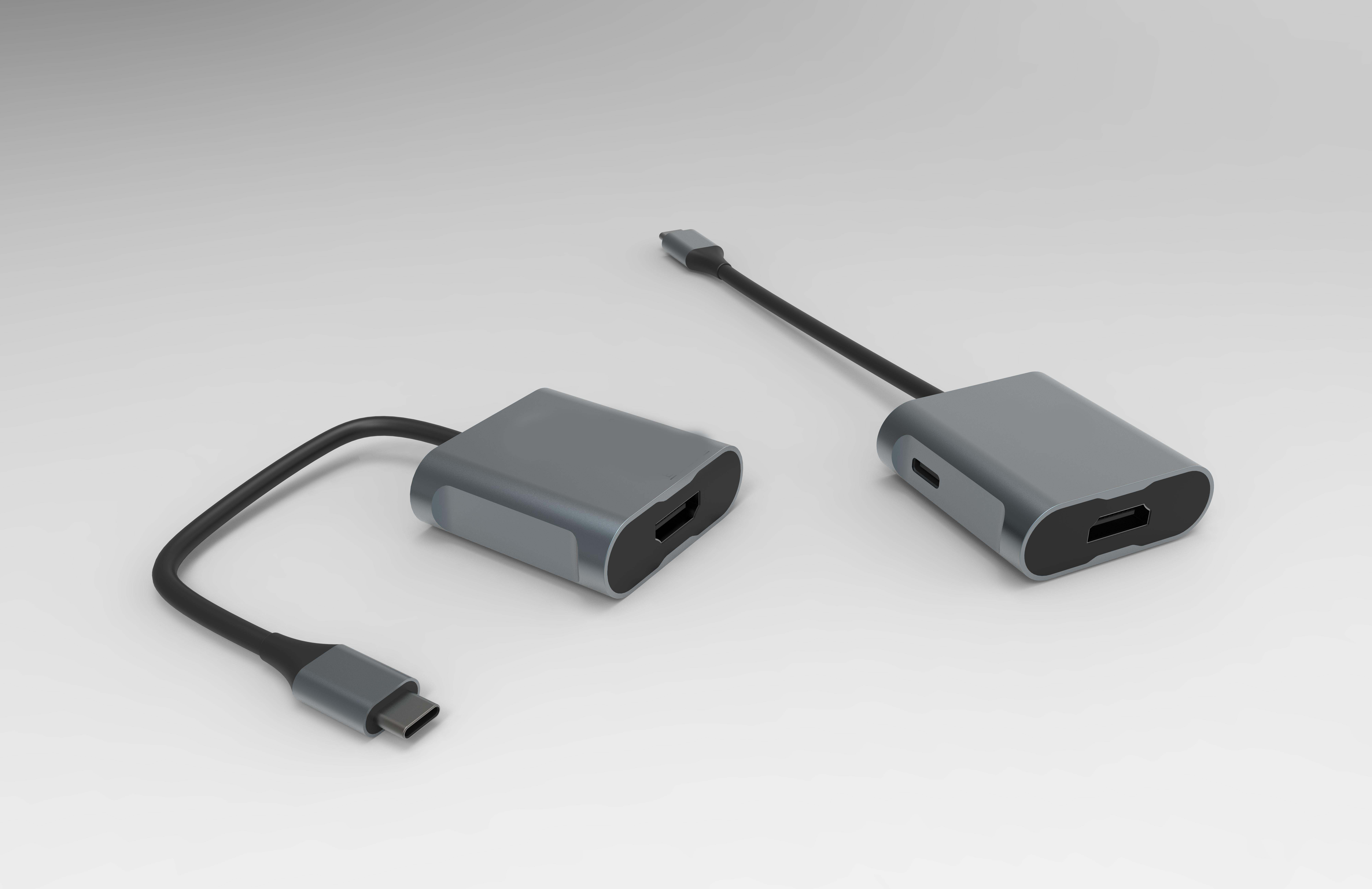二合一USB C HUB到HDMI母座和PD充电100W
