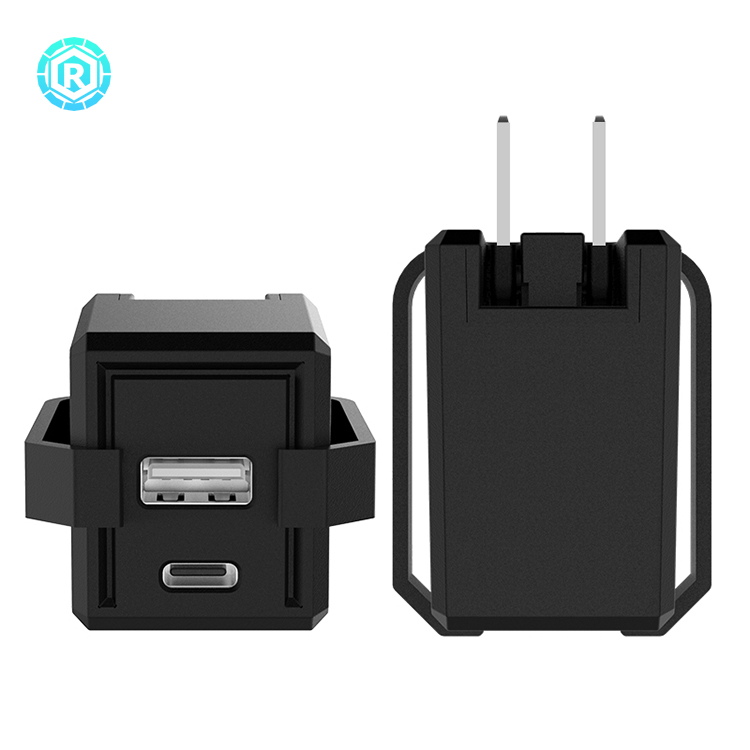 18W Type C Charger Adapter With Cable Clip (2 ports)